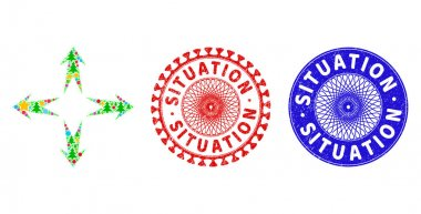 Situation Scratched Seals and Expand Arrows Mosaic of Christmas Symbols