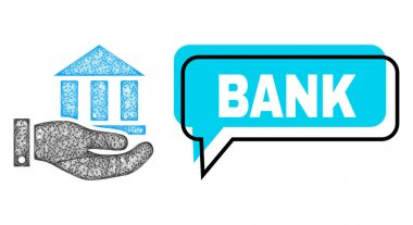 Shifted Bank Speech Balloon and Net Mesh Bank Service Icon