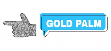 Shifted Gold Palm Chat Bubble and Net Mesh Hand Pointer Left Icon