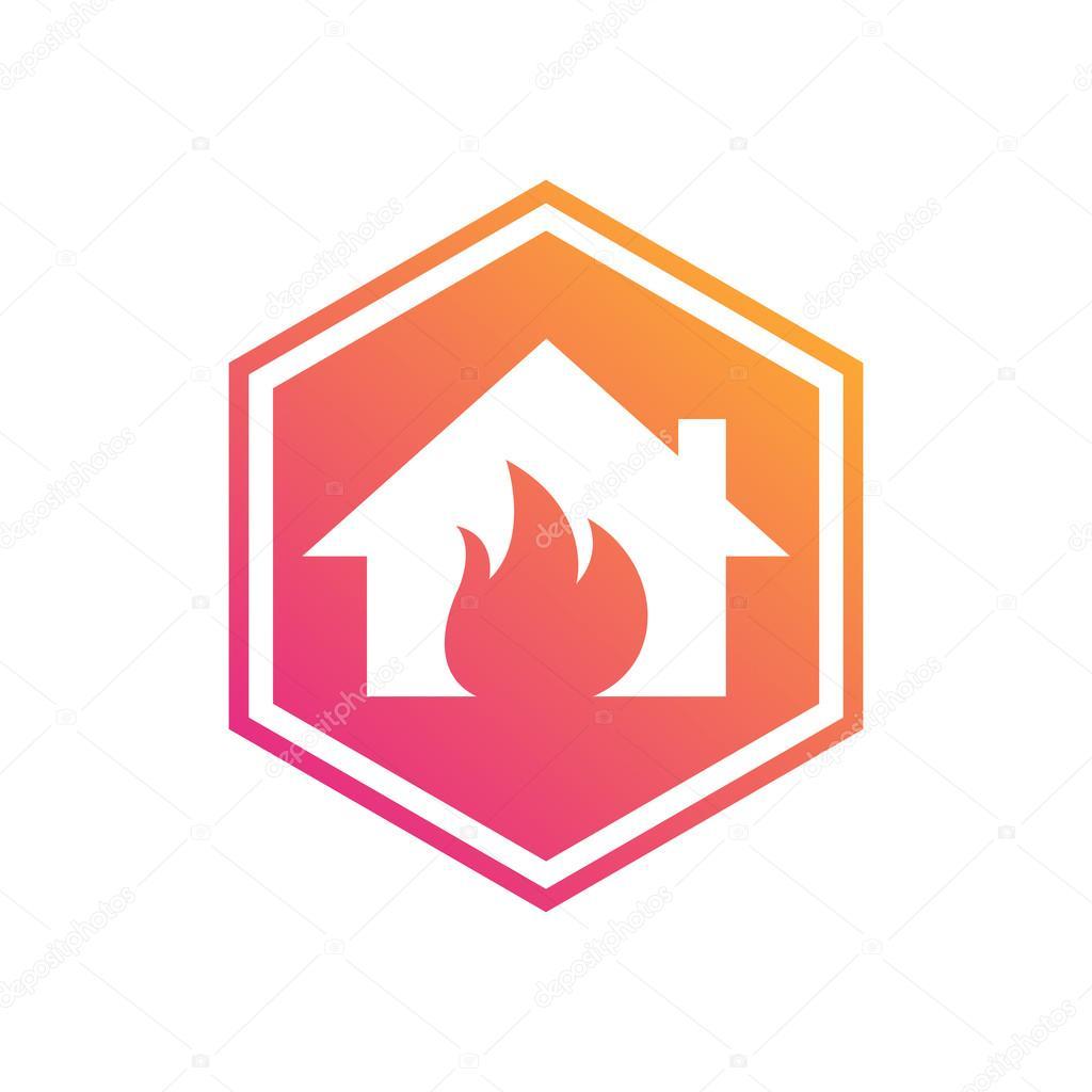 Símbolo del hexágono. Fuego de hogar. Seguridad en el hogar. Alarma ...