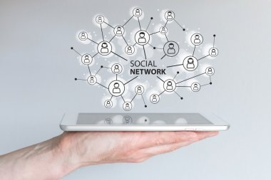 Concept of social network to connect friends, families and global workforce