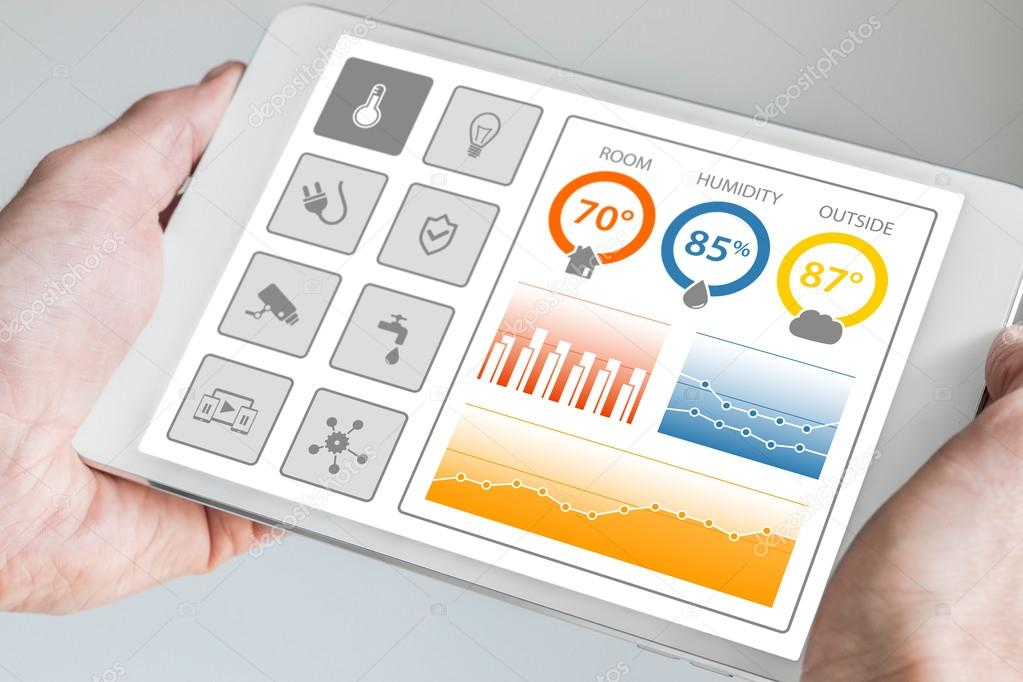Attractive Smart Home Automation Dashboard To Control Smart Devices And Sensors In The  House Or Apartment.