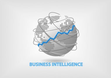 Business Intelligence (BI) concept vector with world
