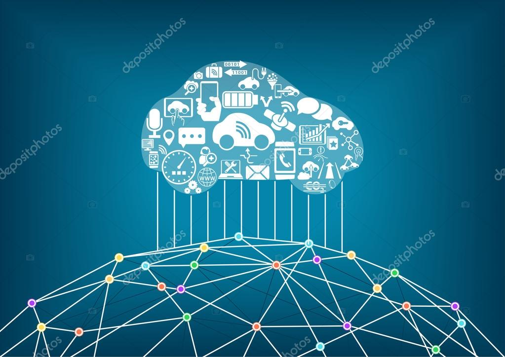 Connected car and internet of things concept. Driverless cars ...