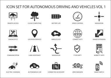 Self driving and autonomous vehicles vector icon set.