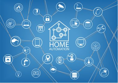 Smart home automation vector background
