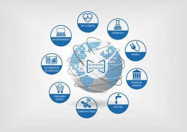 Digital business models for global economy. Vector icons for different industries like life sciences, consumer good, telecommunications, energy and financial services