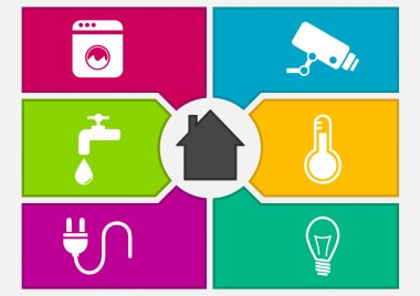 Vector illustration of colorful smart home automation screen
