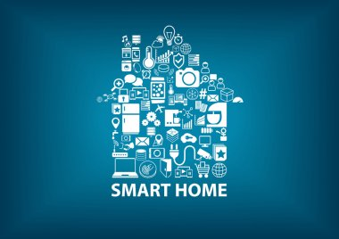 Smart Home vector illustration background with house