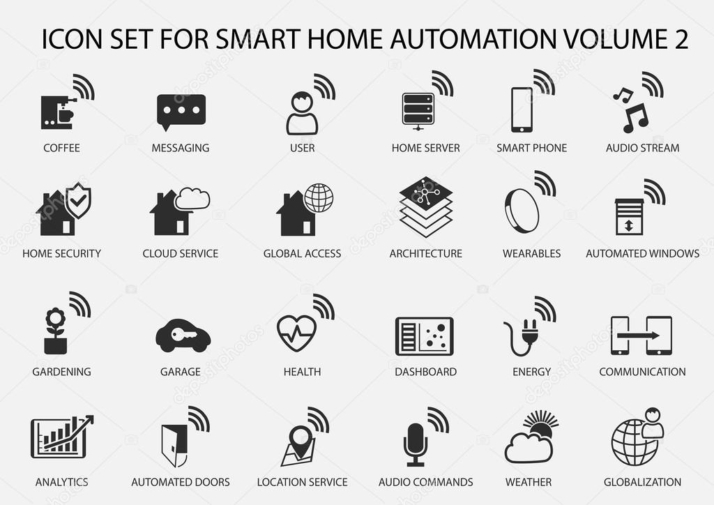 smart home automation vector icon set in flat design stock vector. Black Bedroom Furniture Sets. Home Design Ideas