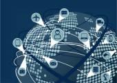 Fotografia Rete globale di Internet of Things (Iot) come immagine vettoriale. Terra con il globo e punteggiato mappa e linea le connessioni tra dispositivi