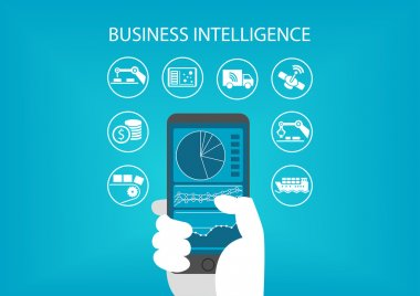 Business intelligence concept with hand holding modern smart phone including predictive analytics dashboard.