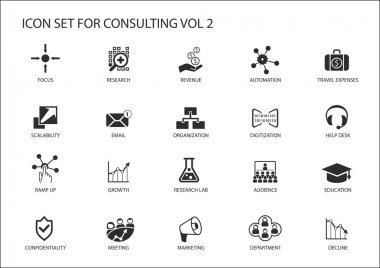 Vector icon set for topic consulting. Various symbols for strategy consulting, IT consulting, business consulting and management consulting