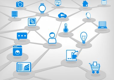 Internet of Things (IoT) vector illustration with connected devices. Light grey background.