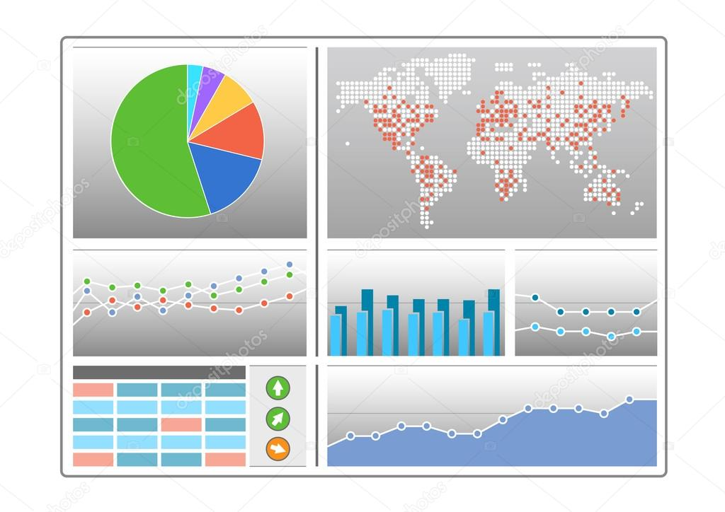 Dashboard With Different Types Of Charts Like Pie Chart World Map