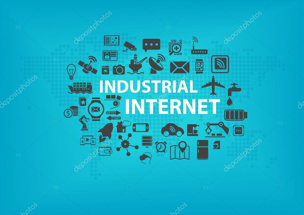 Industrial internet iot concept with world map and icons of industrial internet iot concept with world map and icons of connected devices with blue gumiabroncs Images