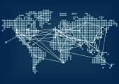 Globale Netzwerkanbindung durch dunkelblaue Weltkarte