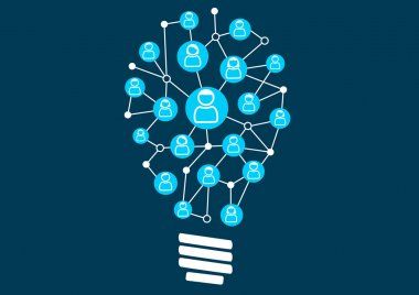 Social crowd sourcing and ideation. Swarm intelligence by the social community of a business or company. Vector illustration of light bulb for creativity.