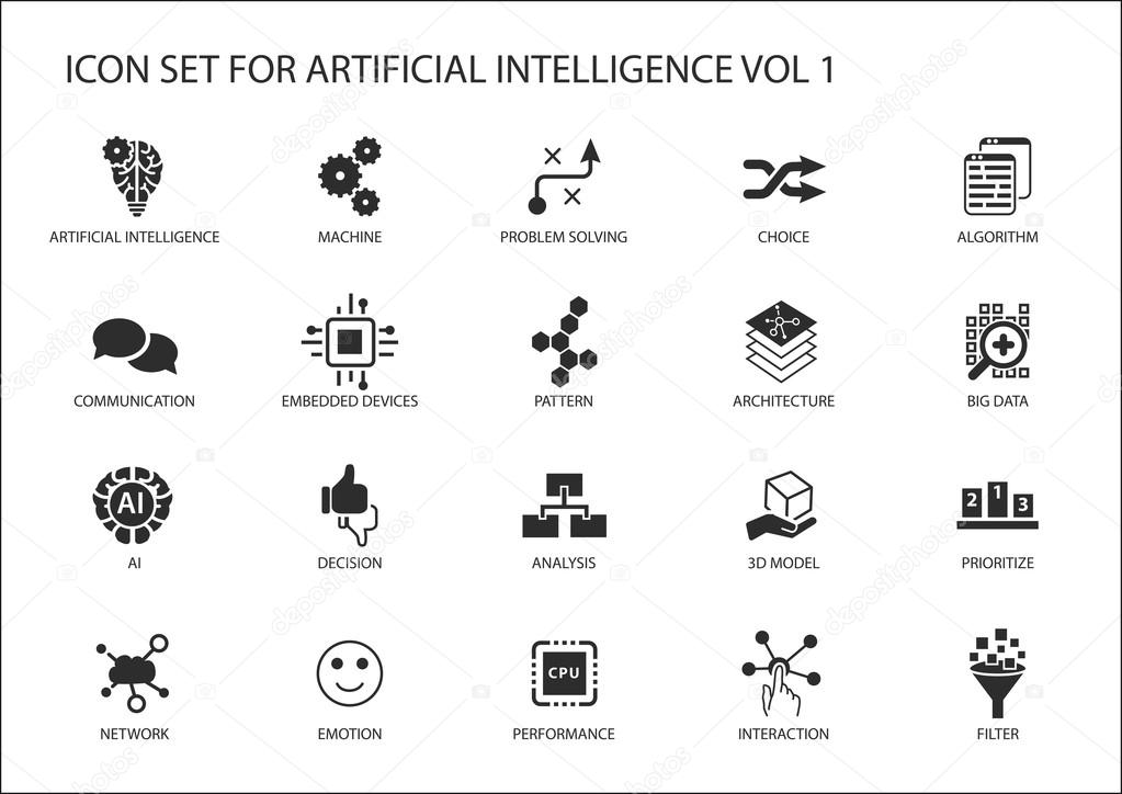 Vector Icon Set For Artificial Intelligence Ai Concept Various