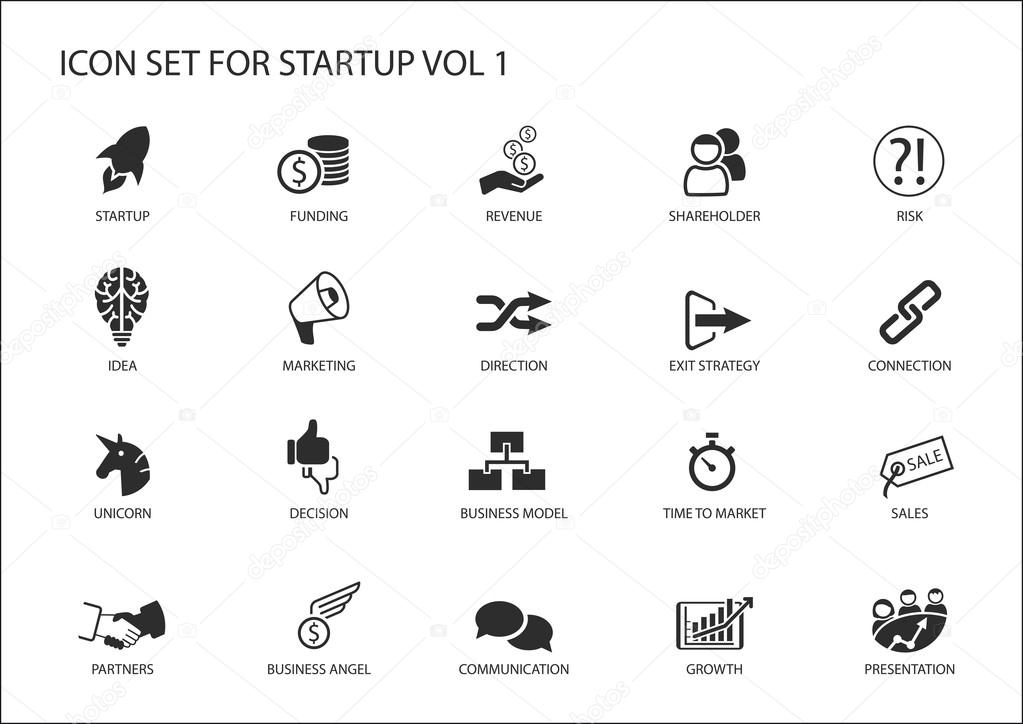 Business startup icon set. Vector symbols for various business situations