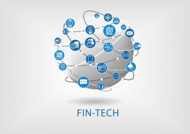 Fin-tech (financial technology) vector infographic and background