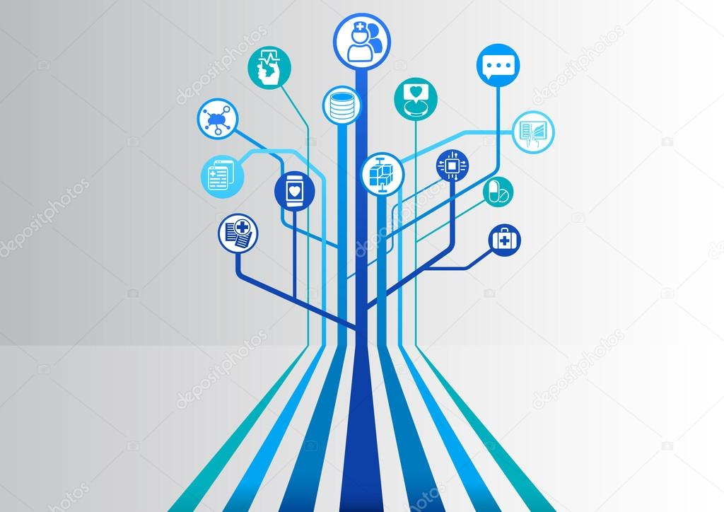 Digital health and hospital blue background as vector illustration with parallel lines branching out into a tree structure