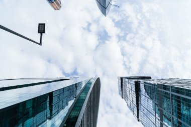 MOSCOW - AUGUST 21, 2016: Vertical view looking up at skyscrapers in Moscow city on August 21, 2016 in Moscow, Russia.
