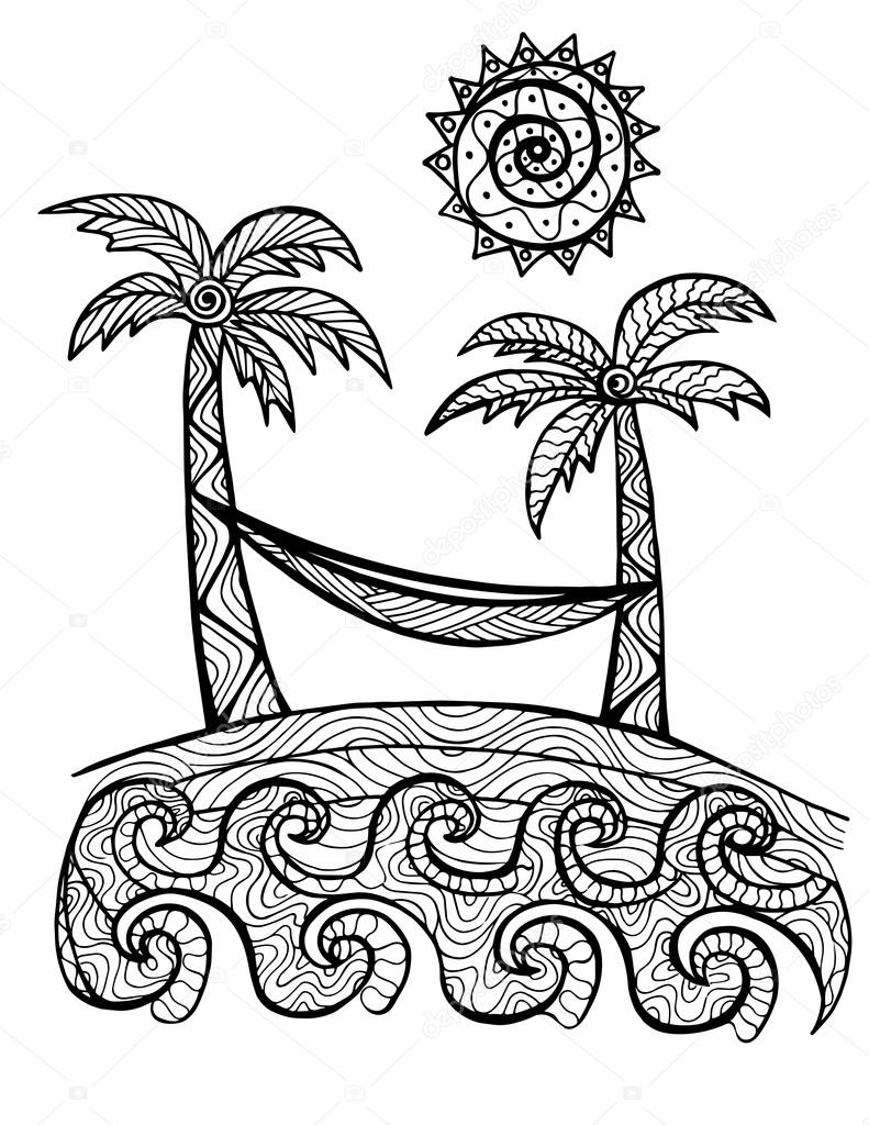 Illustrazione Di Alberi Di Palma Disegnata Per Libro Da Colorare