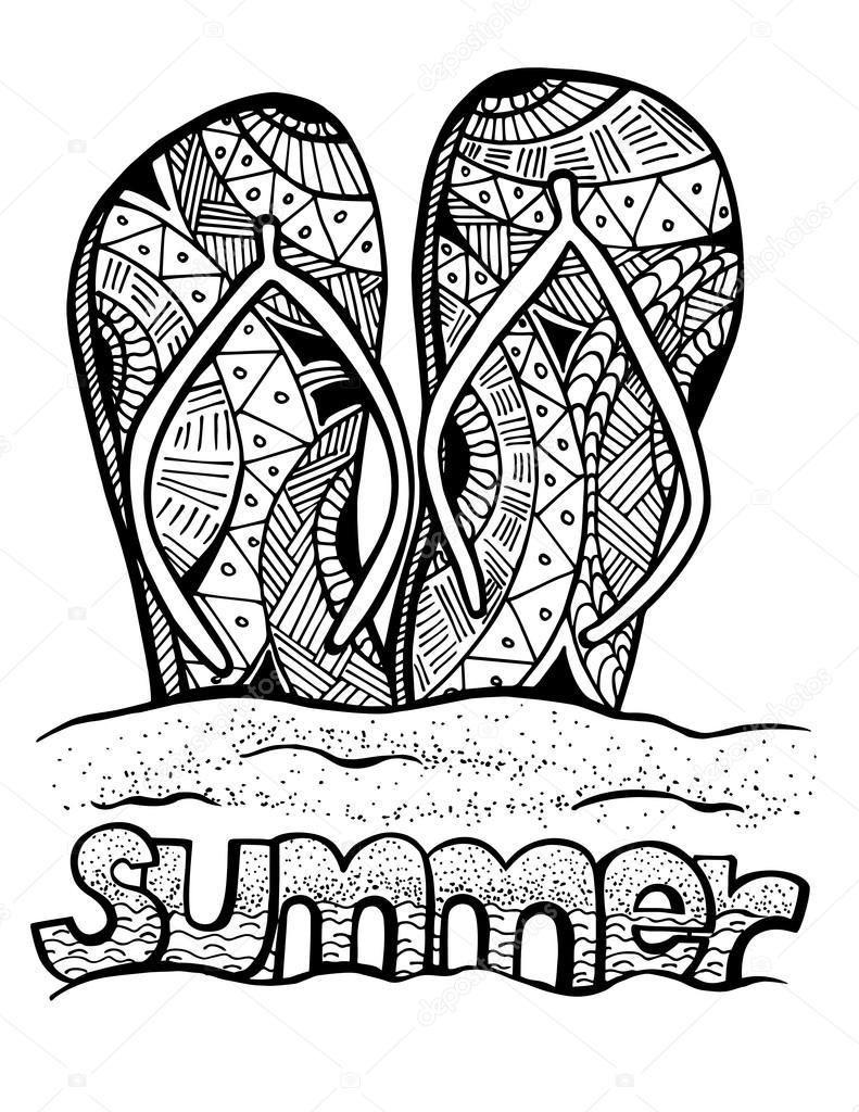 Handgezeichnete Flip-Flops für Malbuch — Stockvektor © luaeva #106013934
