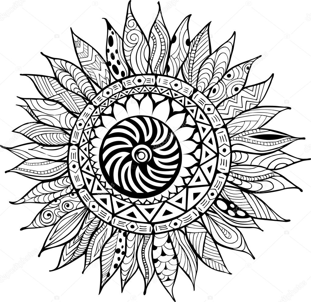 Mano dibujada zentangle ornamento de girasoles para colorear libro ...