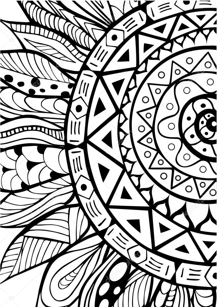 mano dibujada zentangle ornamento de girasoles para sunflower vector art black and white sunflower vector free download