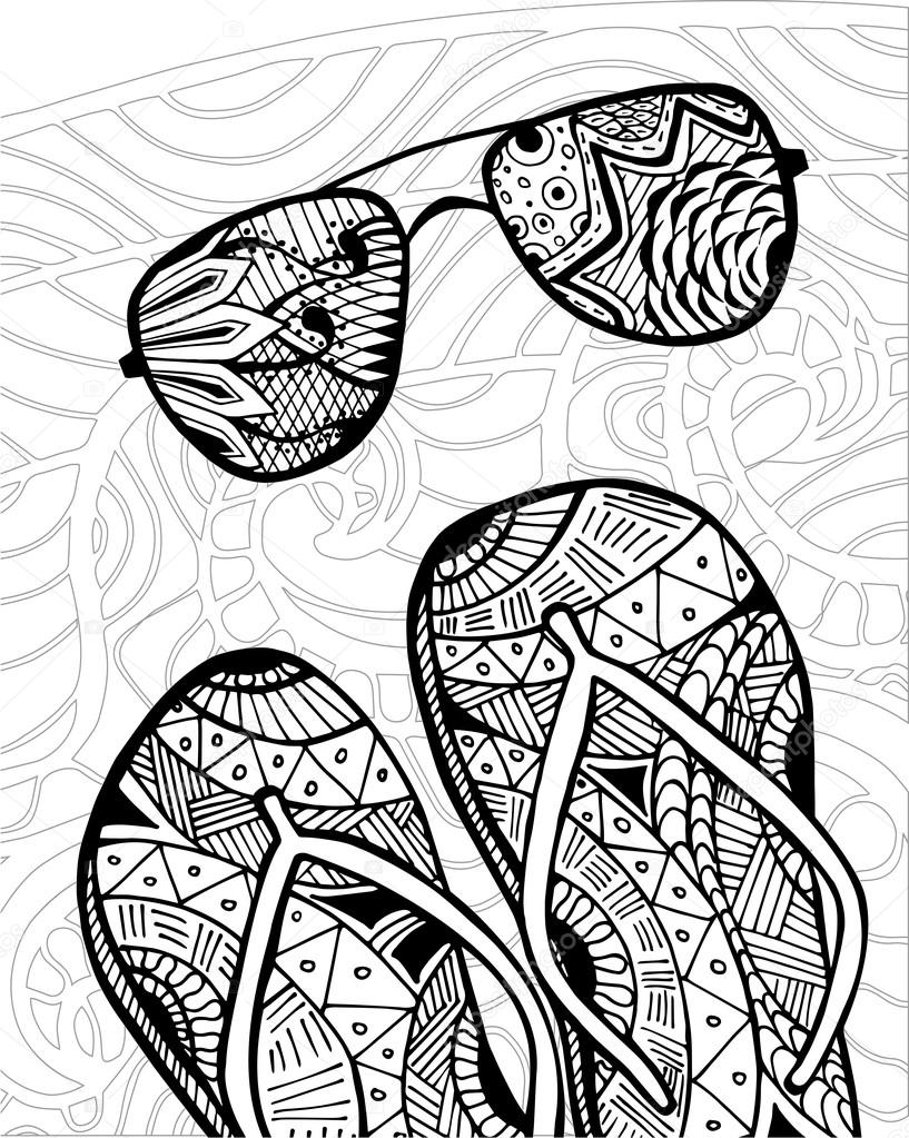 Zentangle dibujado a mano de flip flops para colorear libro — Vector ...