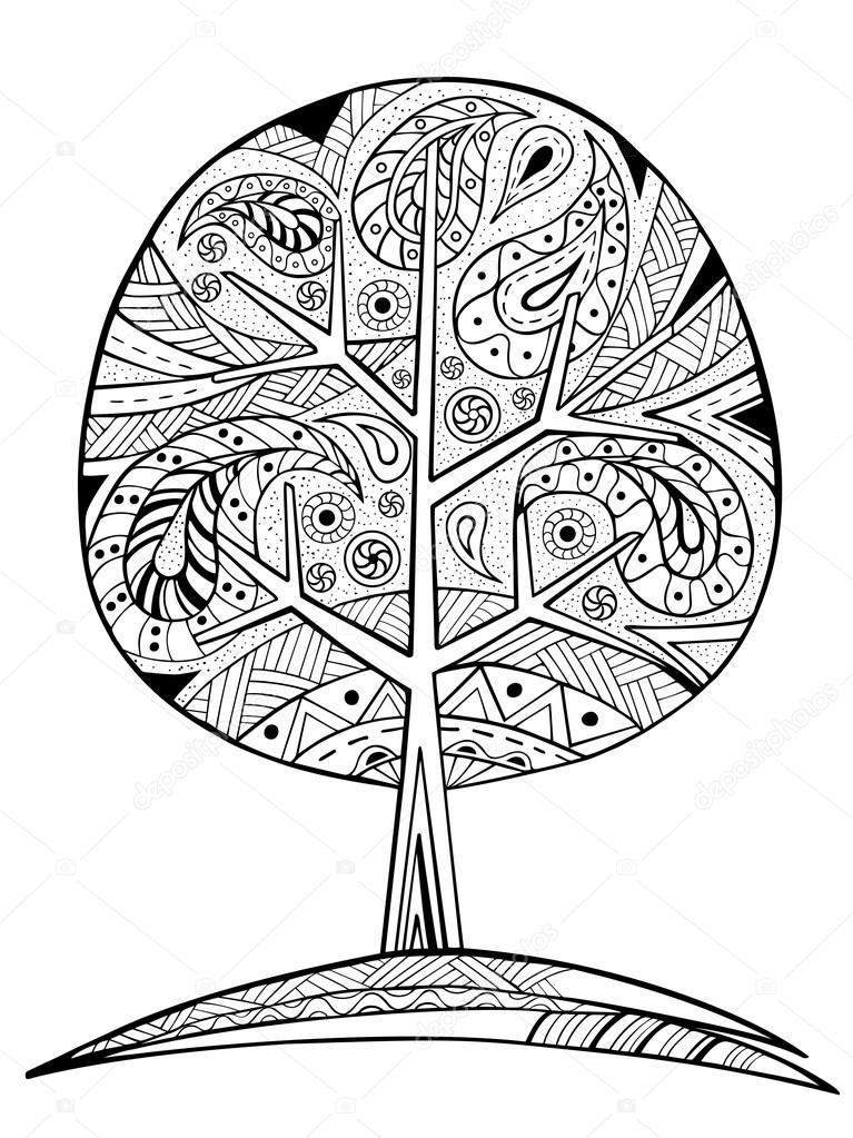 Árbol de zentangle dibujado mano para colorear libro — Vector de ...