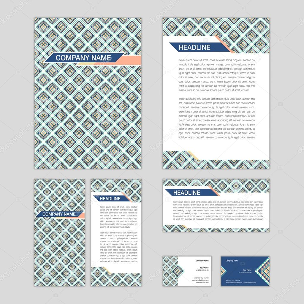 Set of abstract corporate templates. Ethnic boho seamless patter ...