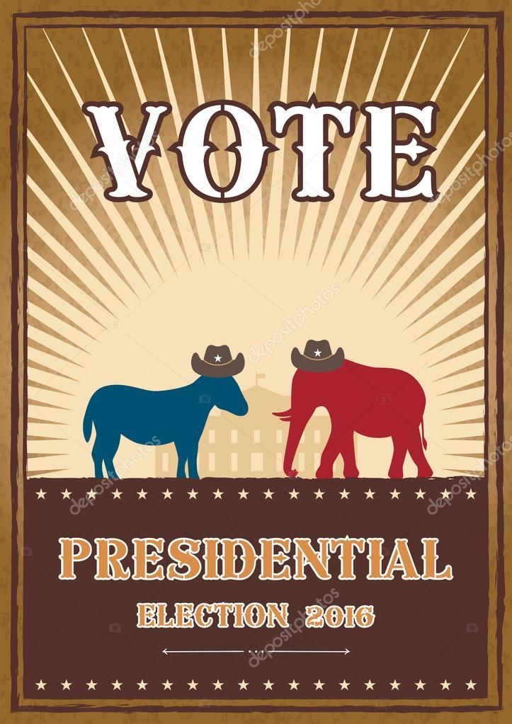 Vote Donkey And Elephant Symbols Political Parties America 2016