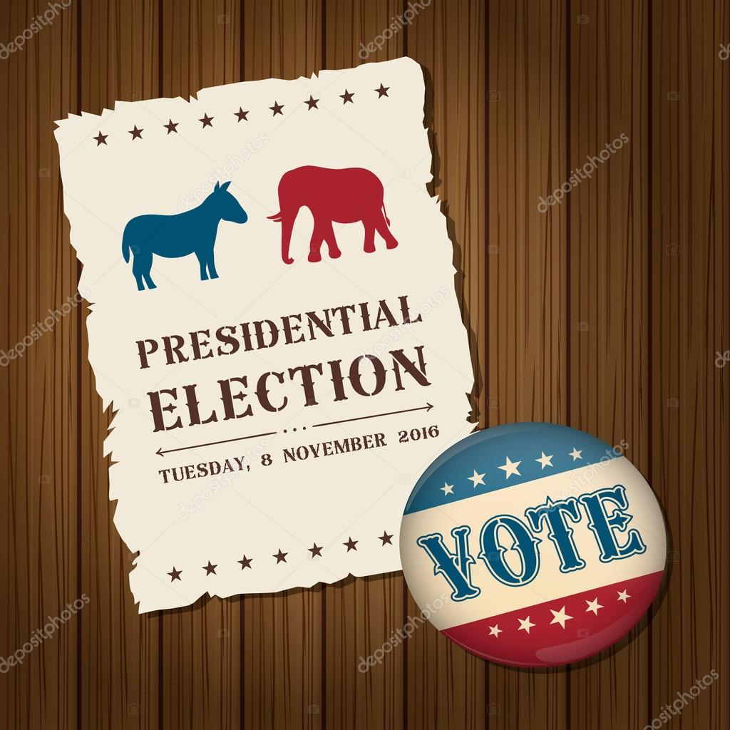 Vote Badge Button With Donkey And Elephant Symbols Political Par