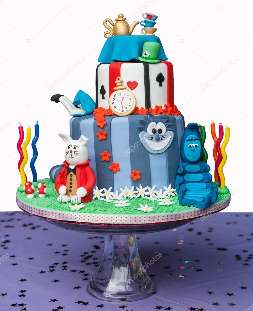 Alice in Wonderland theme birthday cake Stock Photo sstollaapt