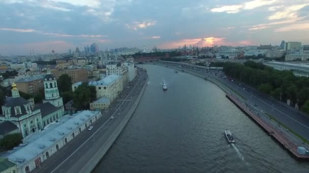 Moscow city center dramatic sunset aerial view.