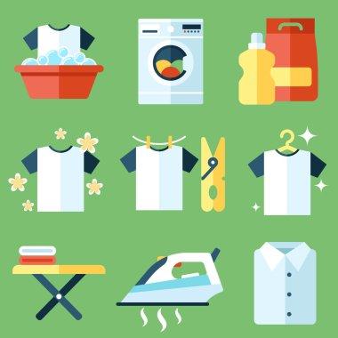 Washing icons, flat style