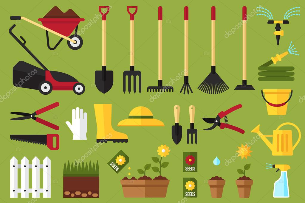 Garden tools icons, flat style