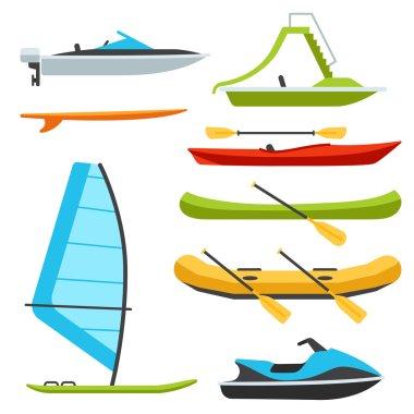 Boat types, flat style illustrations.
