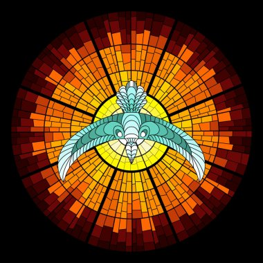Colorful illustration background with pigeon and glowing sun with rays. Stained glass window mosaic style.