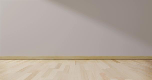 Prázdná místnost bílá na dřevěné podlaze interiéru. pokoj moderní minimální japonský styl. stěna bílá pro text vašeho prostoru. 3D vykreslování.
