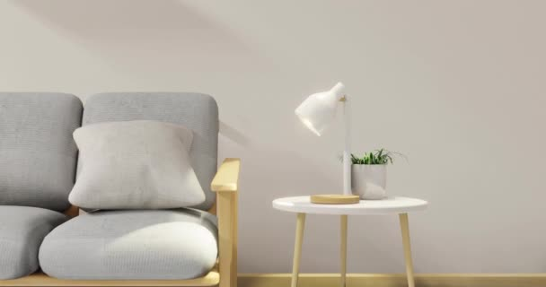 minimal interior design room with sofa, low table, Decoration plant and japan style design Set the table lamp light in wall.3D rendering interior design. Modern living room Japanese style.3D rendering