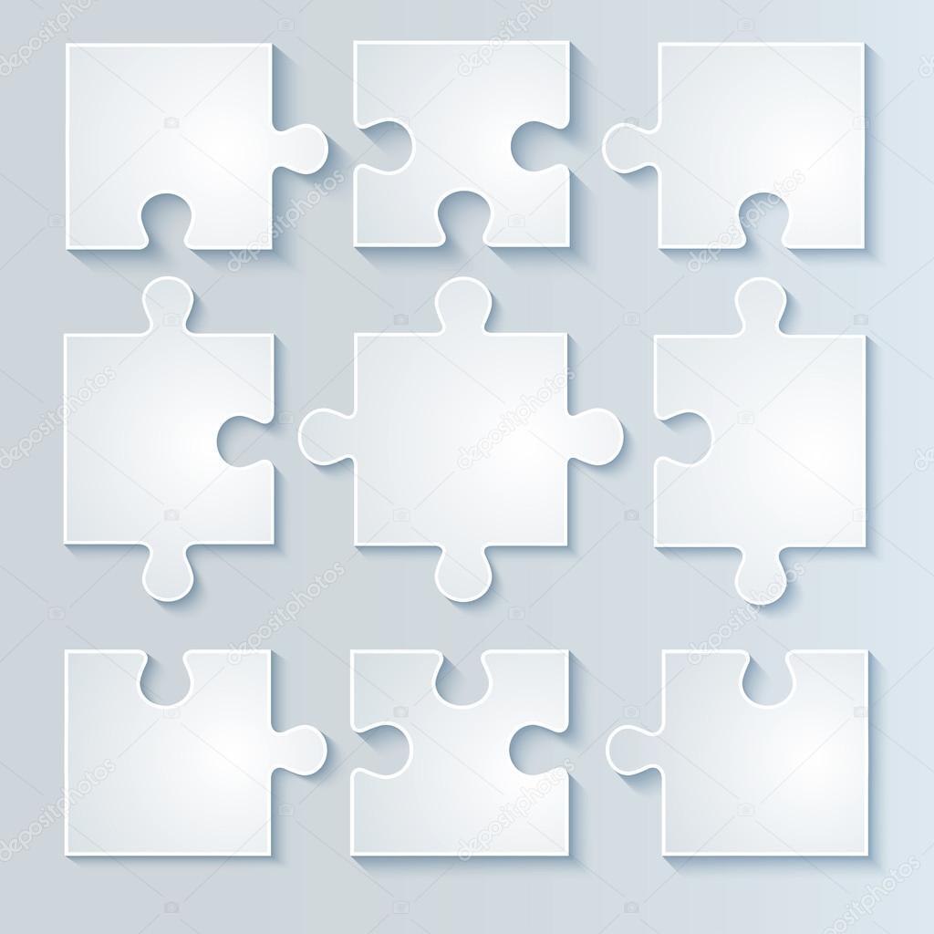 Set of white puzzle parts