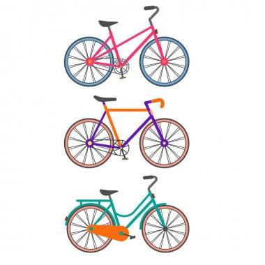 Three colorful bikes