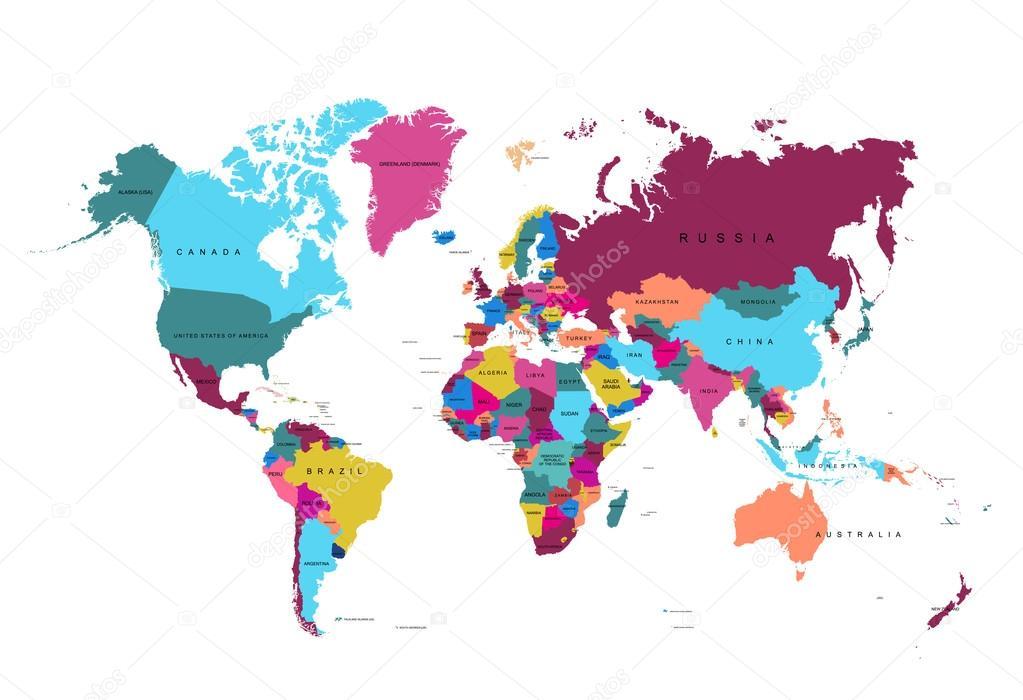 carte du monde coloré — Image vectorielle gleb261194.gmail.