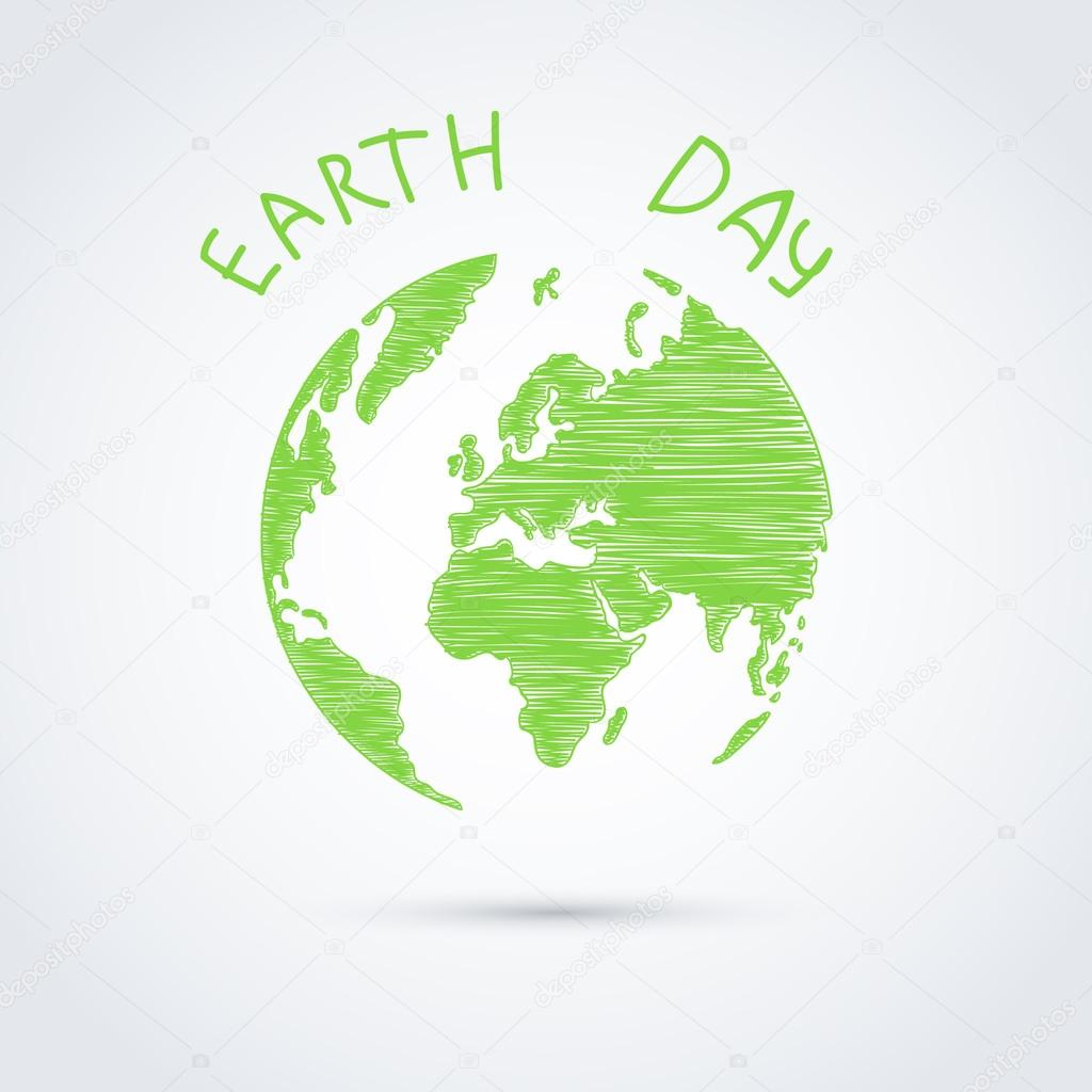 Green planet against white background