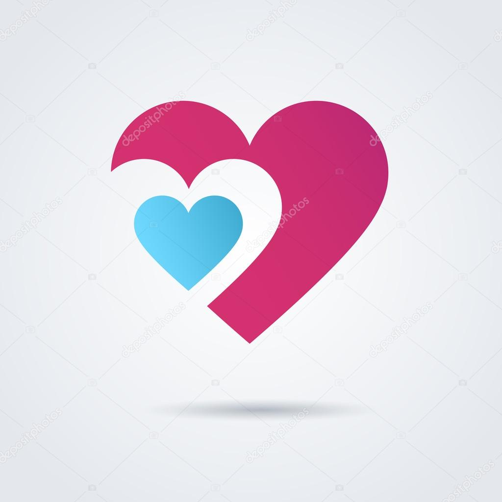 Two beautiful hearts. Red and blue clipart vector