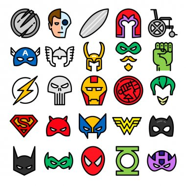 Superheroes set icons.